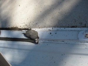sealant is the black stuff...thin and broken allowing leaks!