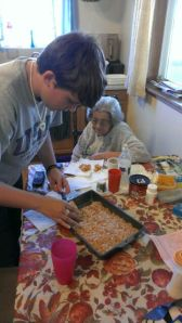 making rice krispie treats with Great Grandma